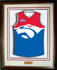 AFL jumper mounted in frame