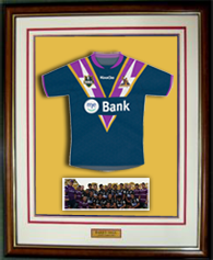 rugby jumper mounted in frame
